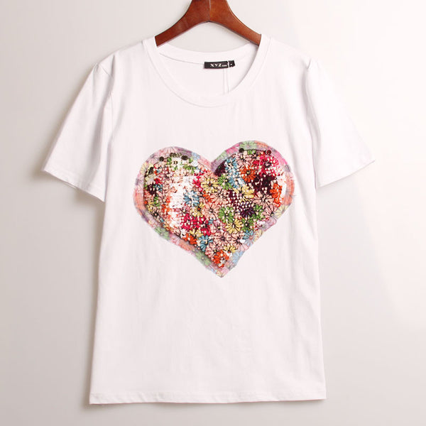 Heart Sequins T-Shirt - Shop Now at www.appleandjuice.com