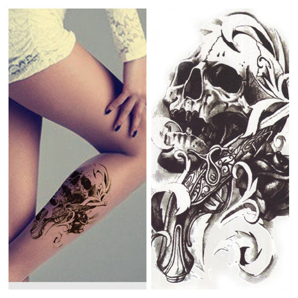 Skull Waterproof Body Art Temporary Tattoo Sticker - Shop Now at www.appleandjuice.com