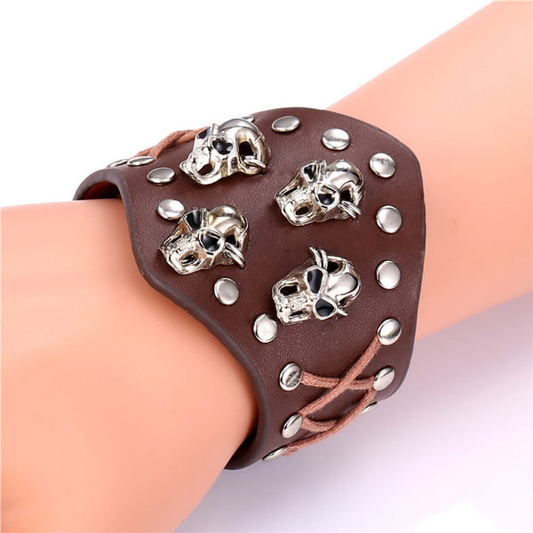 Skull Studs Leather Cuff - Shop Now at www.appleandjuice.com