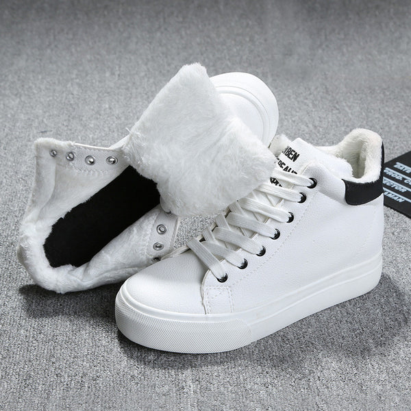 Plush White Sneakers - Shop Now at www.appleandjuice.com
