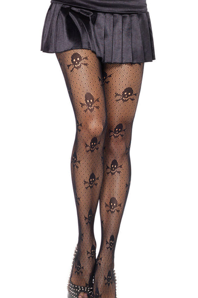 Skull Print Mesh Stockings - Shop Now at www.appleandjuice.com