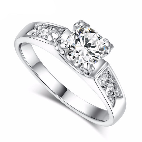 Platinum CZ Embossed Engagement Ring
