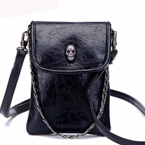 Skull Chain Cross Body Messenger Bag - Shop Now at www.appleandjuice.com