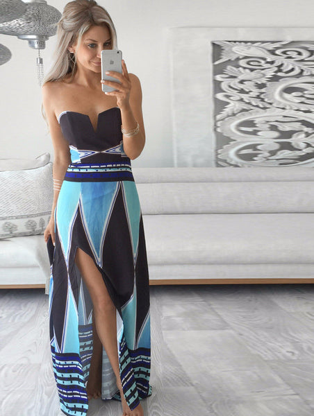 Blue Bohemian Maxi Dress - Shop Now at www.appleandjuice.com