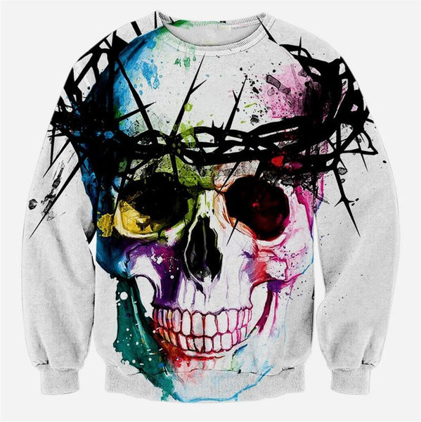 Colorful Skull Thorns Sweatshirt Pullover - Shop Now at www.appleandjuice.com