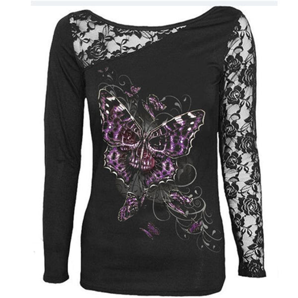 Gothic Lace Skull Print Sweatshirt - Shop Now at www.appleandjuice.com
