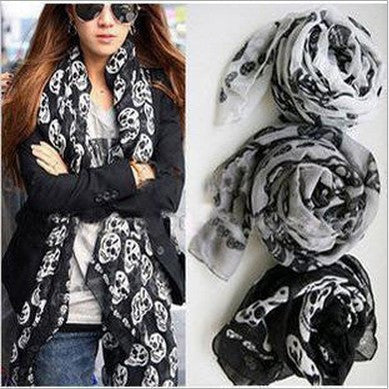Skull Print Scarf - Shop Now at www.appleandjuice.com