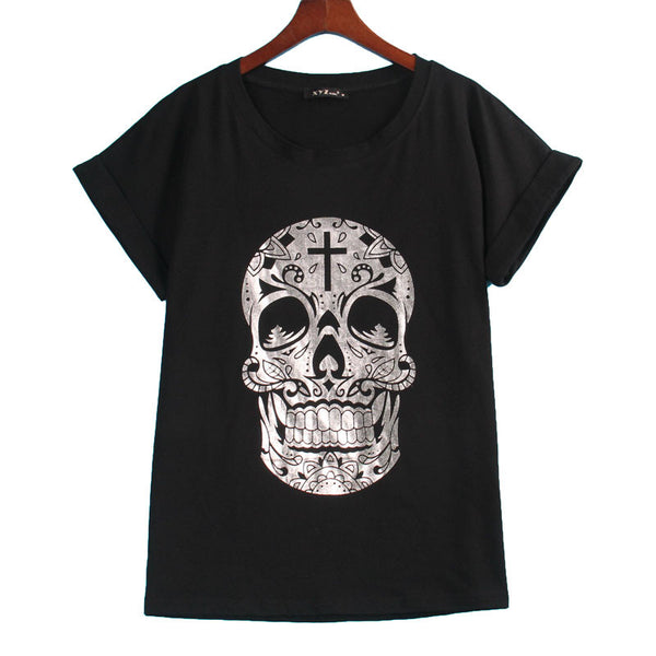Graphic Skull Print Women's T-Shirt - Shop Now at www.appleandjuice.com