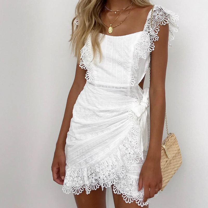 SOLINE Lace Embroidery Wrap Dress