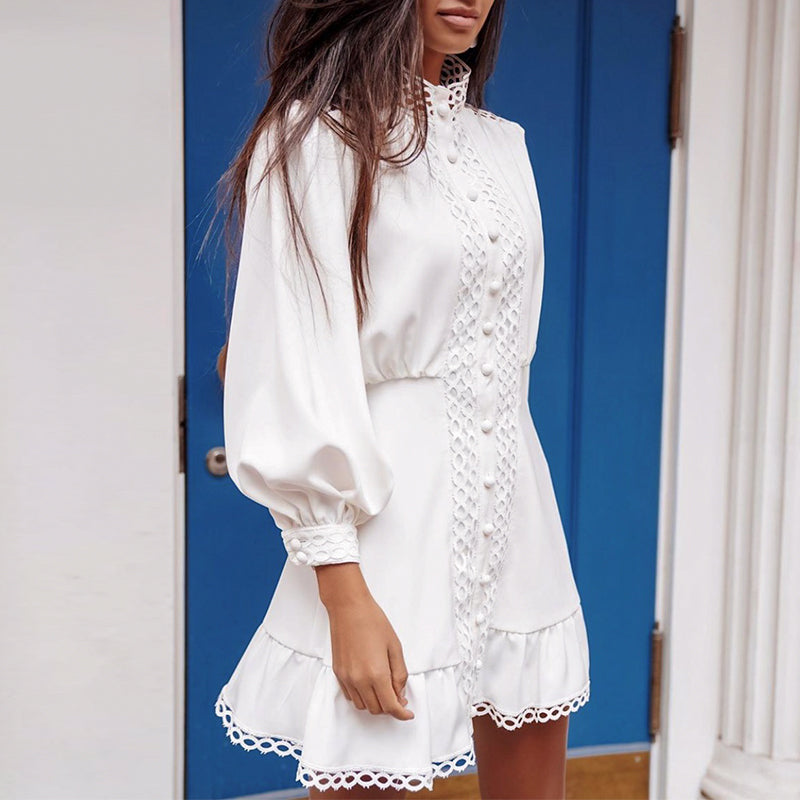REENIE High Neck Lace Detail Dress