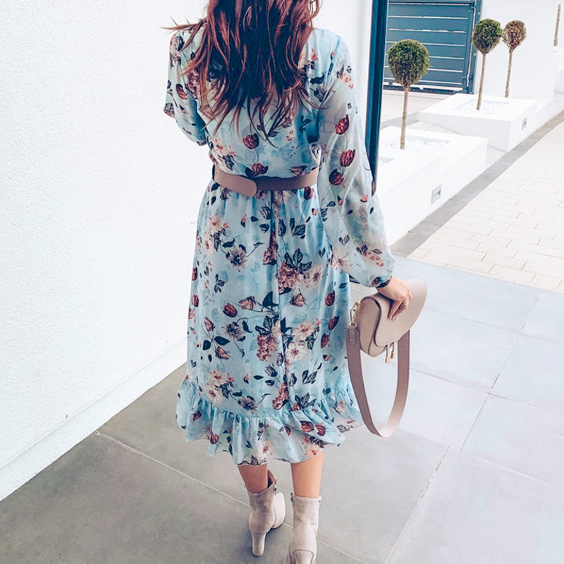 CELESTINE Floral Printed Ruffle Dress