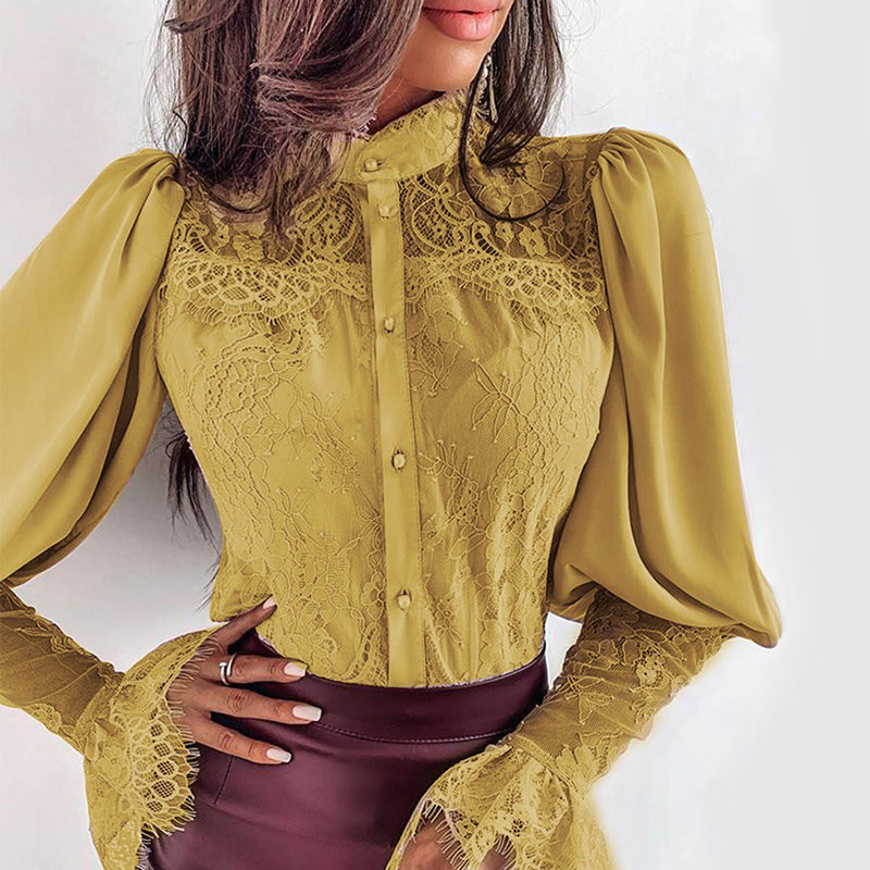 BÁRA Crochet Lace Puff Sleeve Blouse