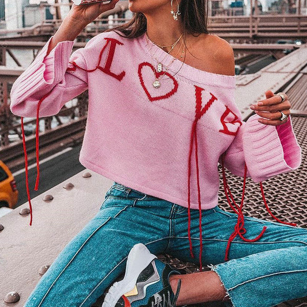 SPREAD THE LOVE Knit Crop Sweater
