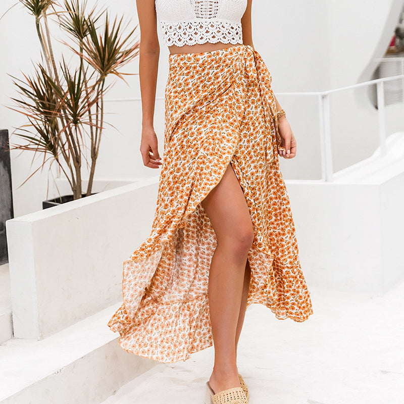 NOREEN Floral Print Wrap Skirt