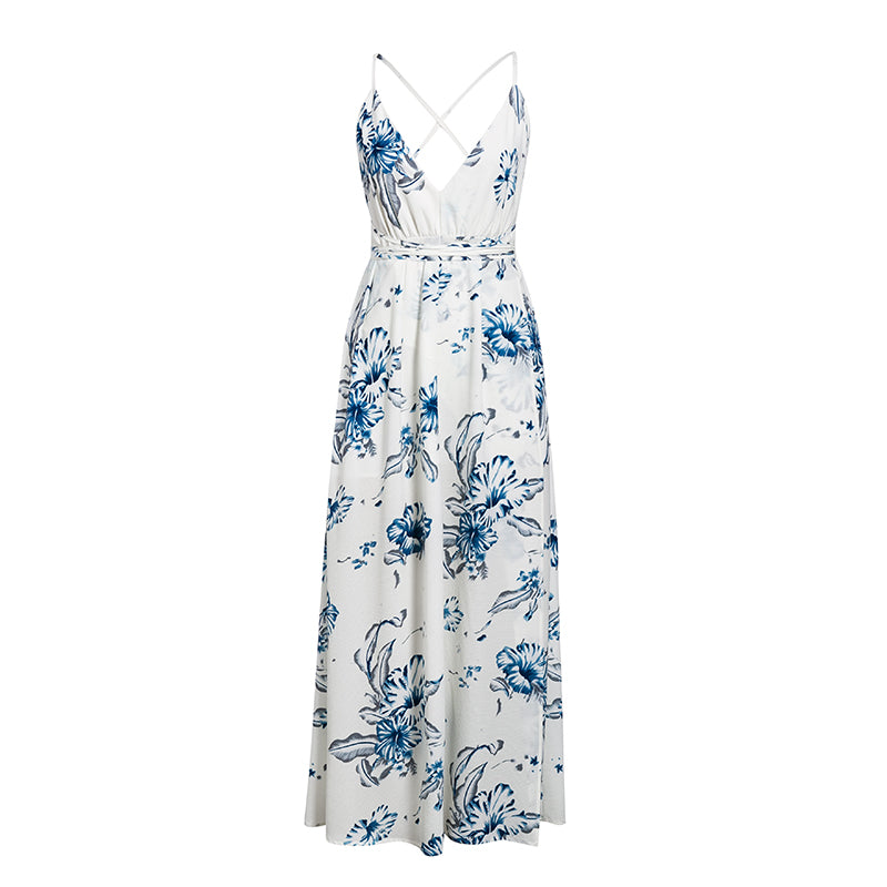 INĀRA V-Neck Floral Print Dress