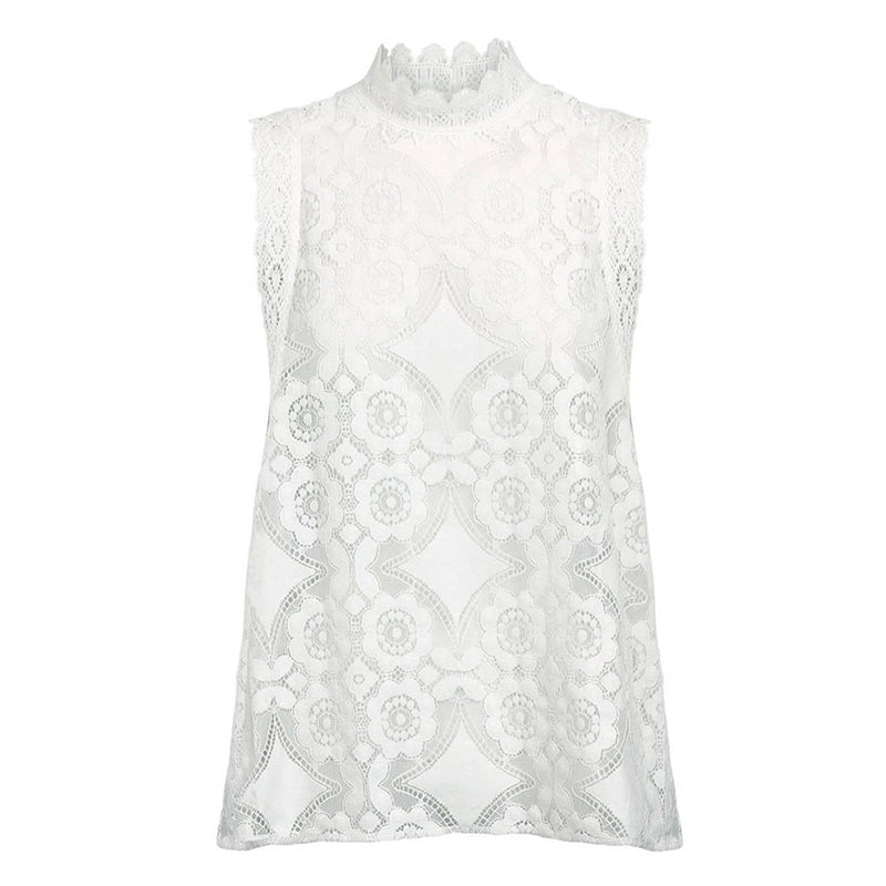 SIDONY High-Neck Lace Blouse