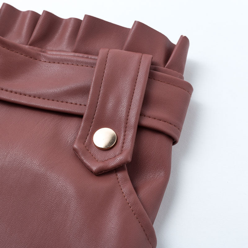 AMBRE Leather Belted Skirt