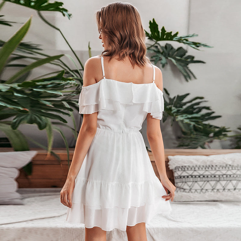 LAETITIA Cold Shoulder Ruffle Dress