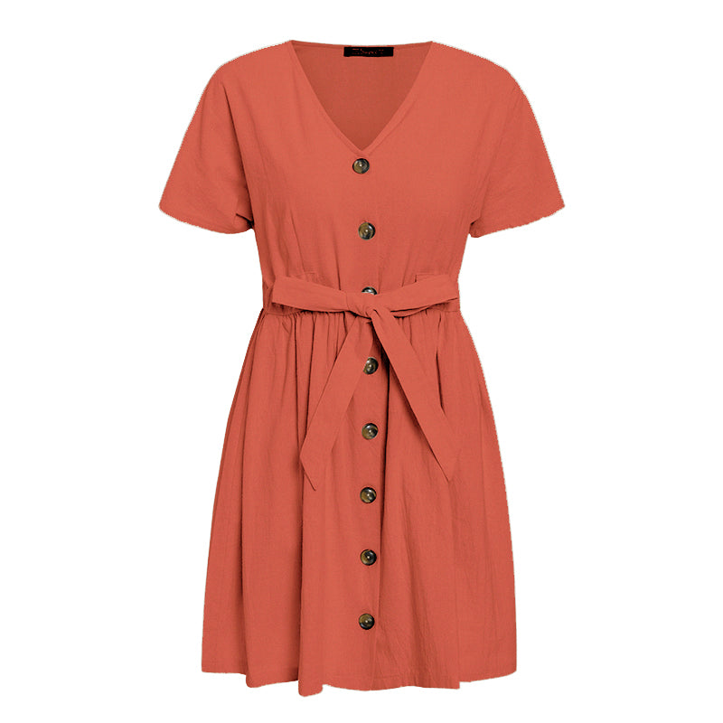 ANDĚLA Button Front Tie-Waist Dress