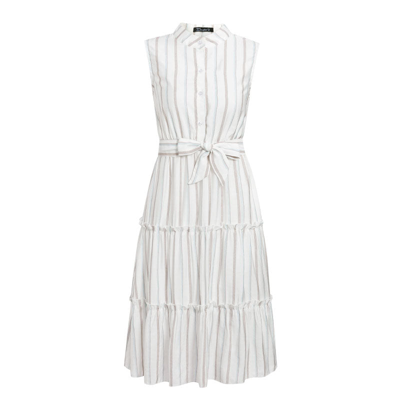 ARACELY Stripe Belted Dress