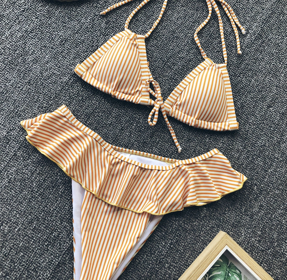 EVERLIE High Waste Frill Bikini