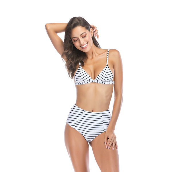 JESSICA High Waist Striped Bikini - bahia blue boutique - Bikinis