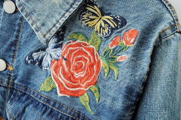 BELLA Embroidered Jean Jacket - bahia blue boutique - Jackets