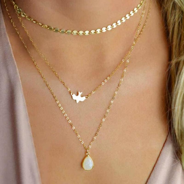 Necklaces - MOONSTONE Tri-Layered Necklace