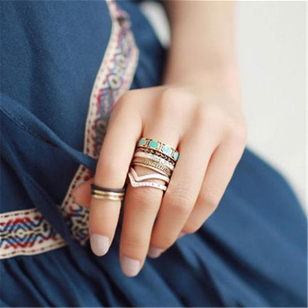 SILVER SEA Turquoise Stacking Rings