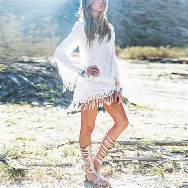 SUNGAZE Tassel Dress - bahia blue boutique -