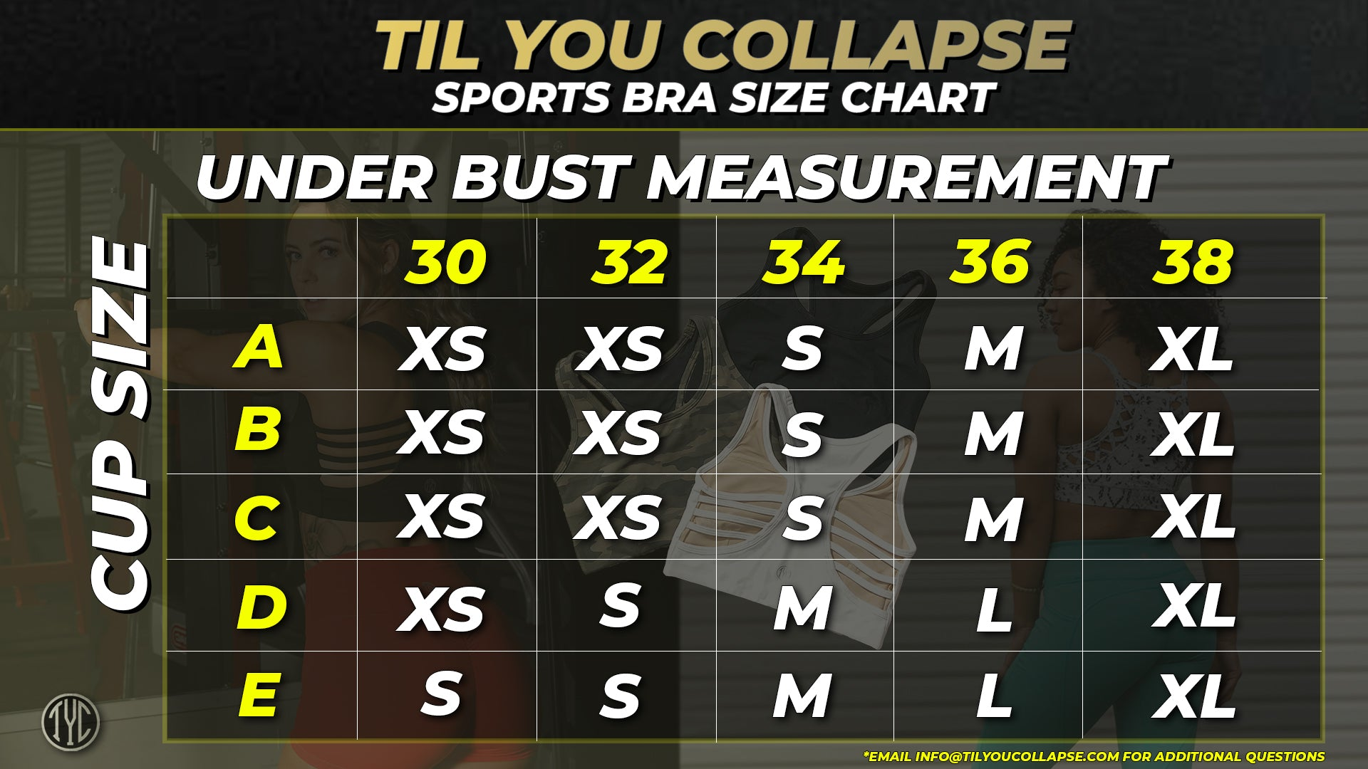 Til You Collapse Sports Bra Size Chart