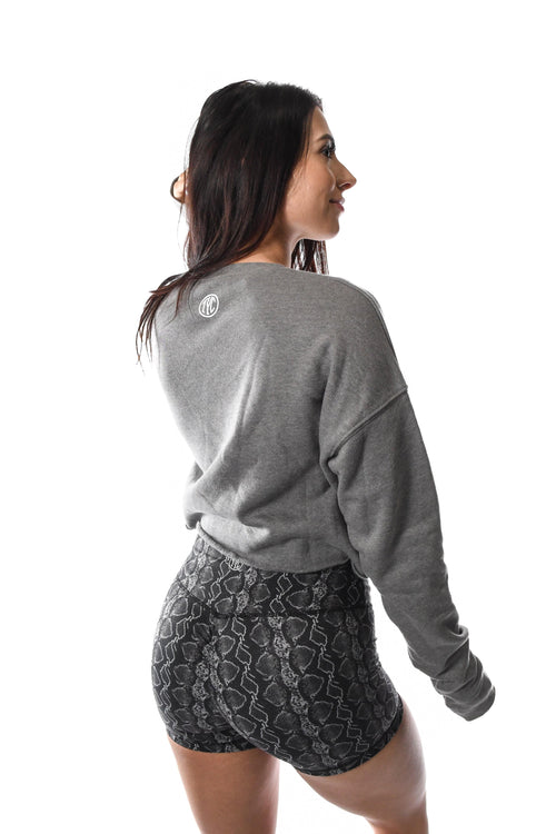 Grey cropped crew neck sweater