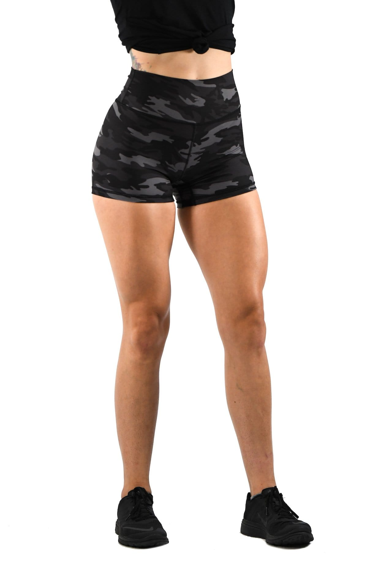 Effortless Scrunch Shorts- Black Camo