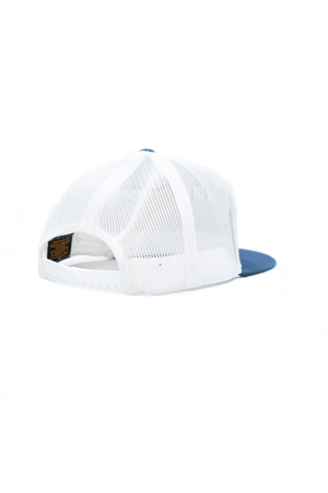 Load image into Gallery viewer, Trucker Snapback- Blue w/ Leather Patch