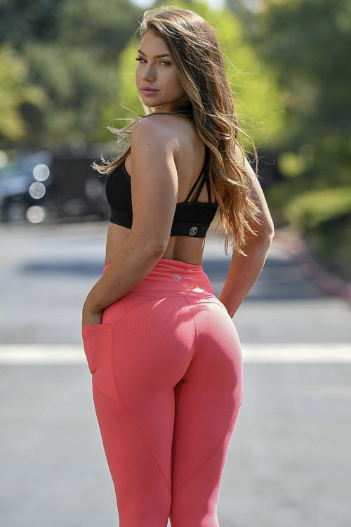 Premium Coral Heart Booty Leggings
