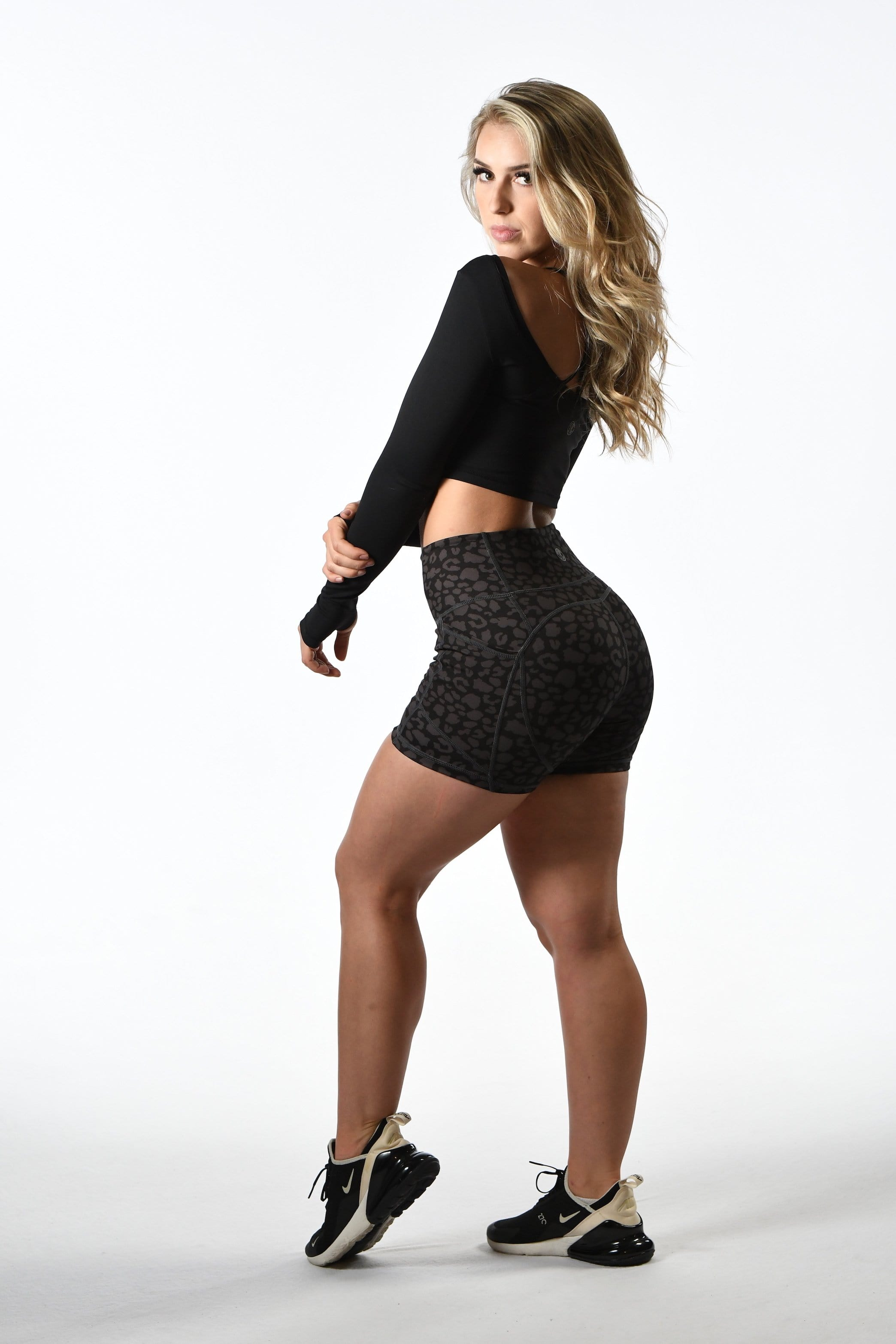 Effortless Heart Booty Shorts- Black Leopard