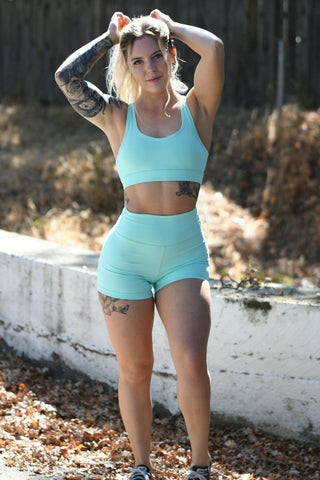 Premium Teal Heart Booty Leggings