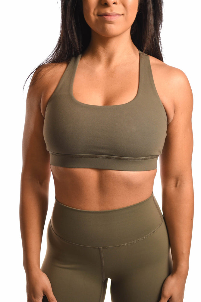 Army green sports bra