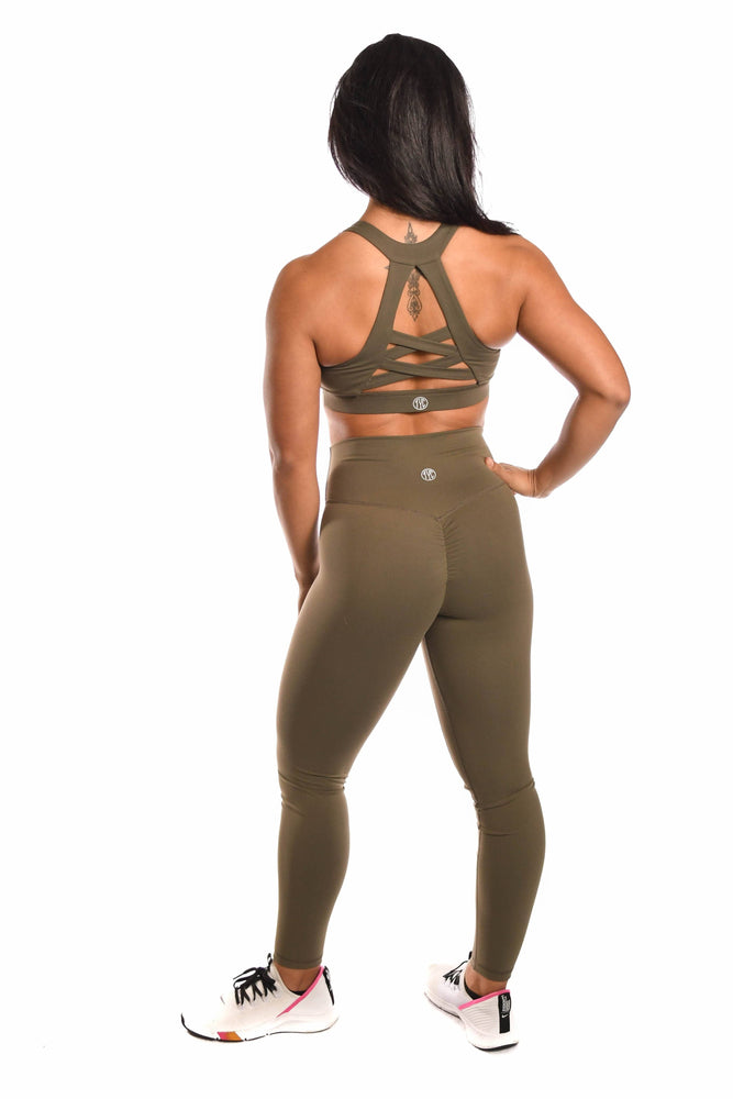 Load image into Gallery viewer, Matching army green sports bra and legging