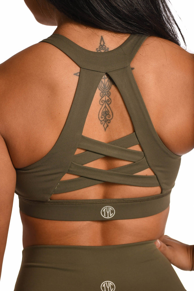 unique braided back design army green sports bra