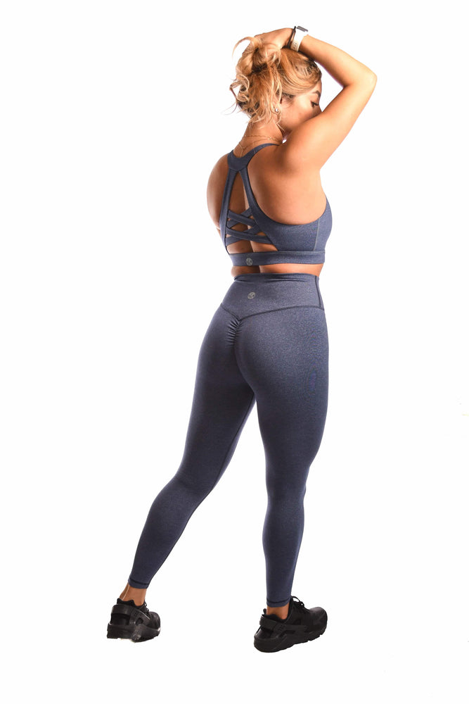Speckled blue sports bra and legging