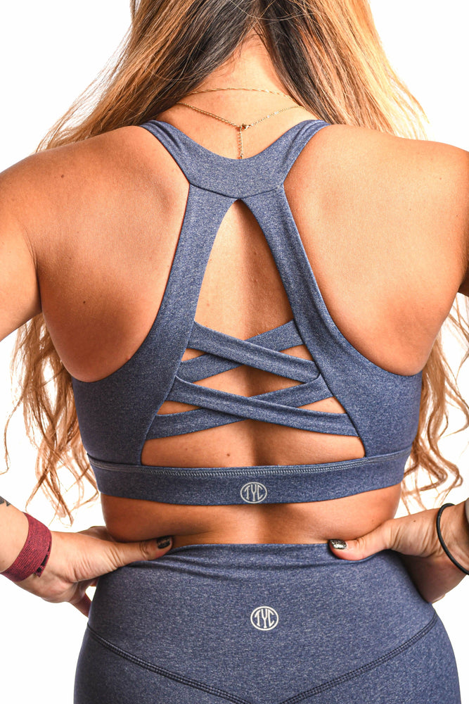 unique braided back design speckled blue sports bra