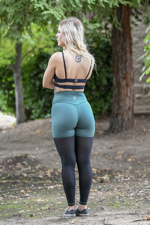 Resilient Dual Color Mesh Leggings