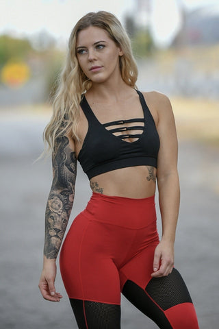 New Stretch Material Cherry Red Heart Booty Leggings
