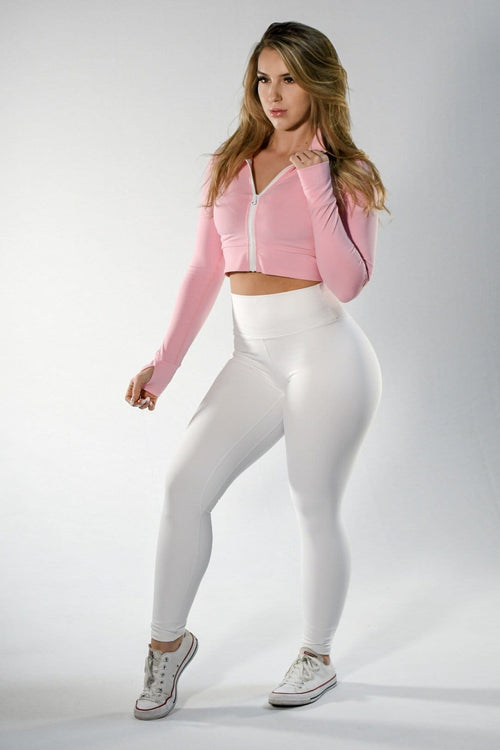 Dual Layer White Classic Scrunch Leggings