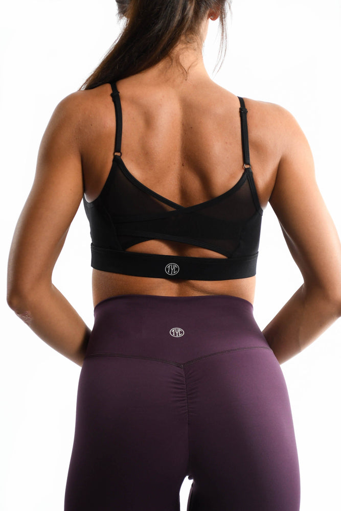 Load image into Gallery viewer, Black mesh back of sports bra