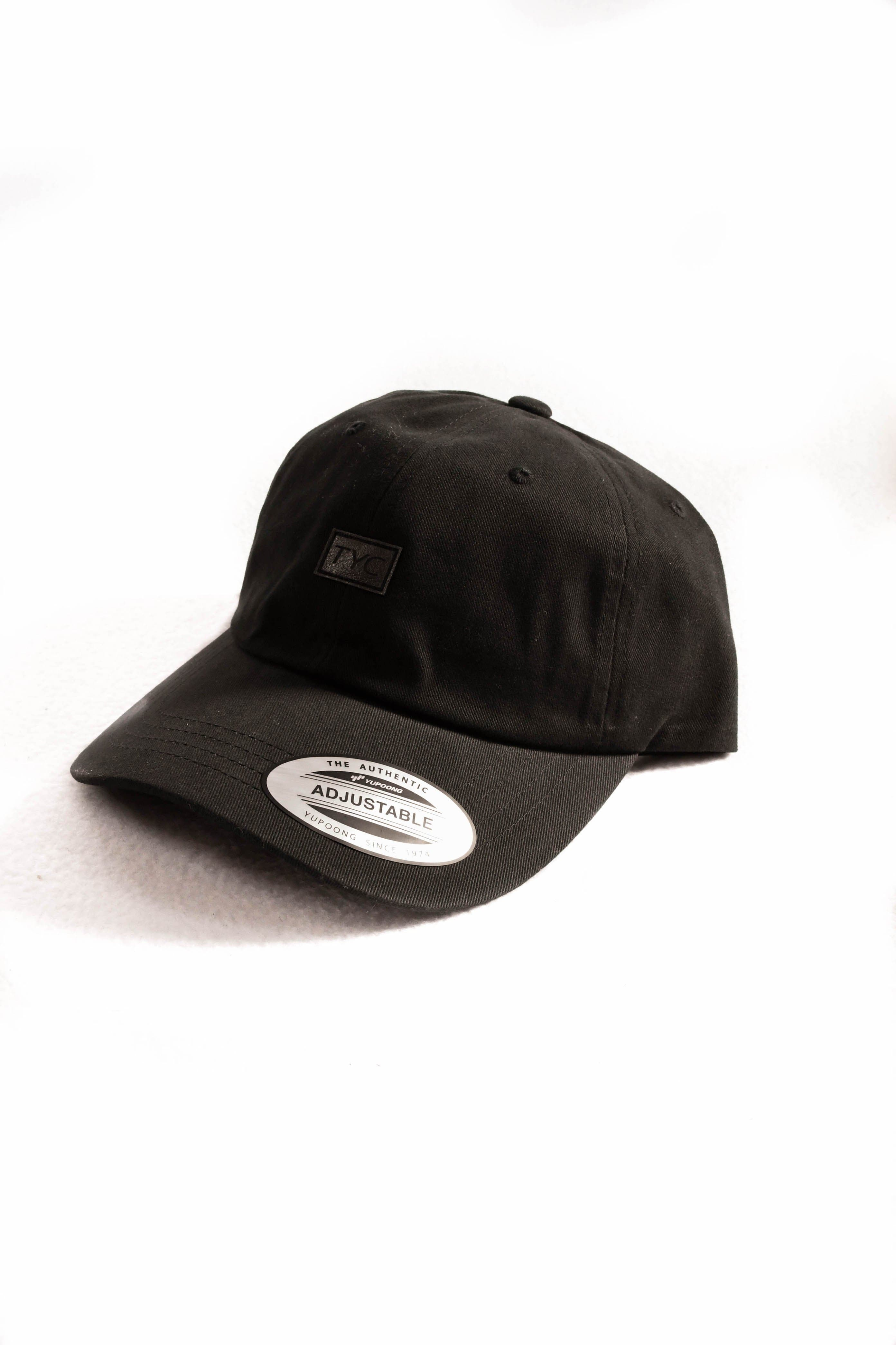 Leather Patch Dad Hat- Black