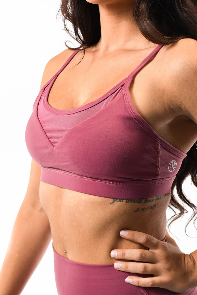 pink mesh low v cut sports bra
