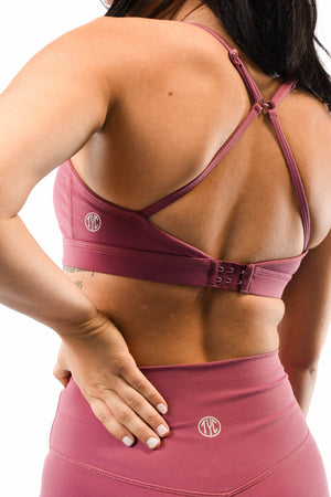 Pink mesh low v cut sports bra straps