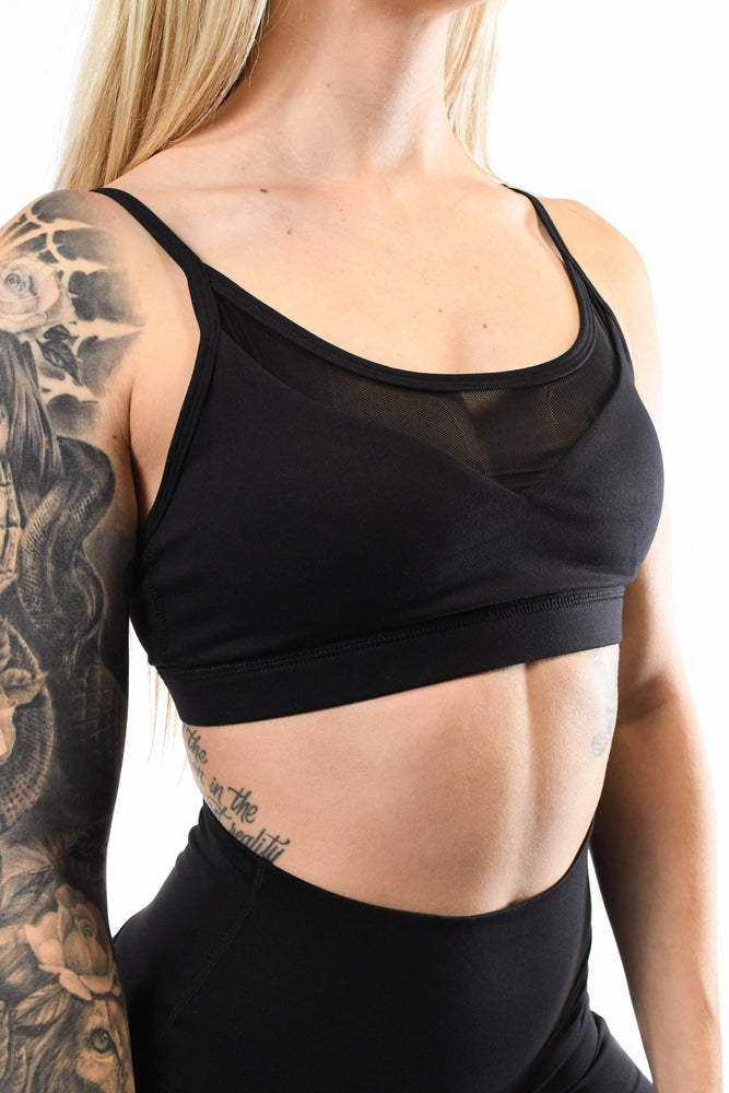 Black mesh low v cut sports bra